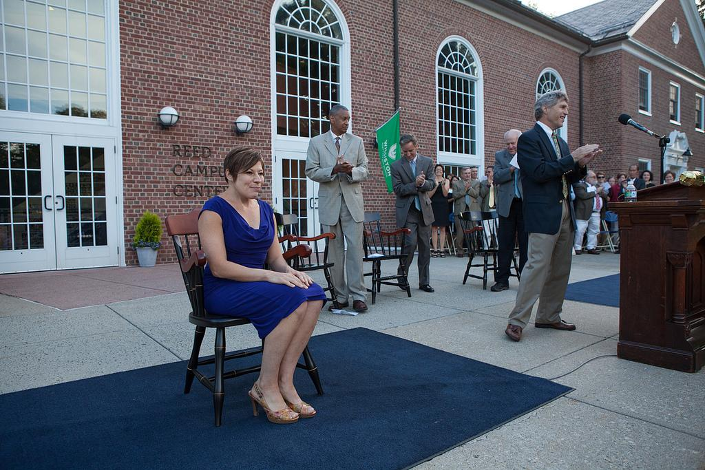 French teacher Ms. Sue Michalski was honored with the Hagedorn Chair at Convocation.