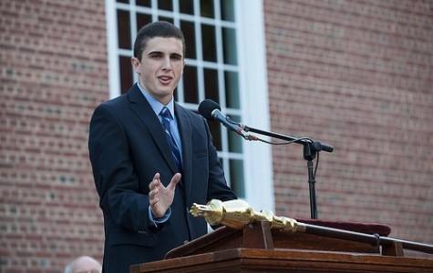 2014-15 Senior Class President Emmett O'Malley speaking at Convocation. Photo courtesy of Williston Flickr via Mathew Cavanaugh