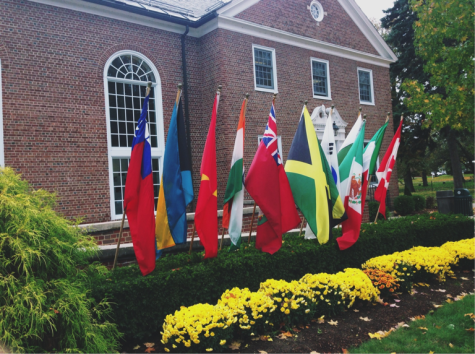 Flags outside the Reed Campus Center representing the international students.