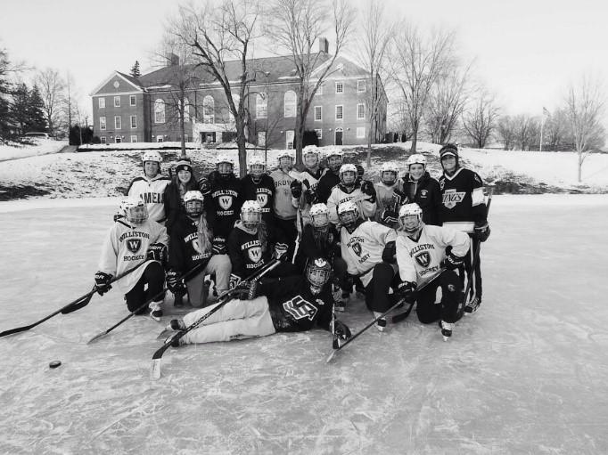 The+2014-15+Williston+Girls%27+Hockey+team+skated+on+the+school%27s+pond+last+winter.+Courtesy+of+WIlliston+Flickr.