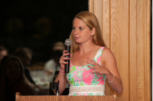 Senior class president, Natalie Aquadro spoke at the event.