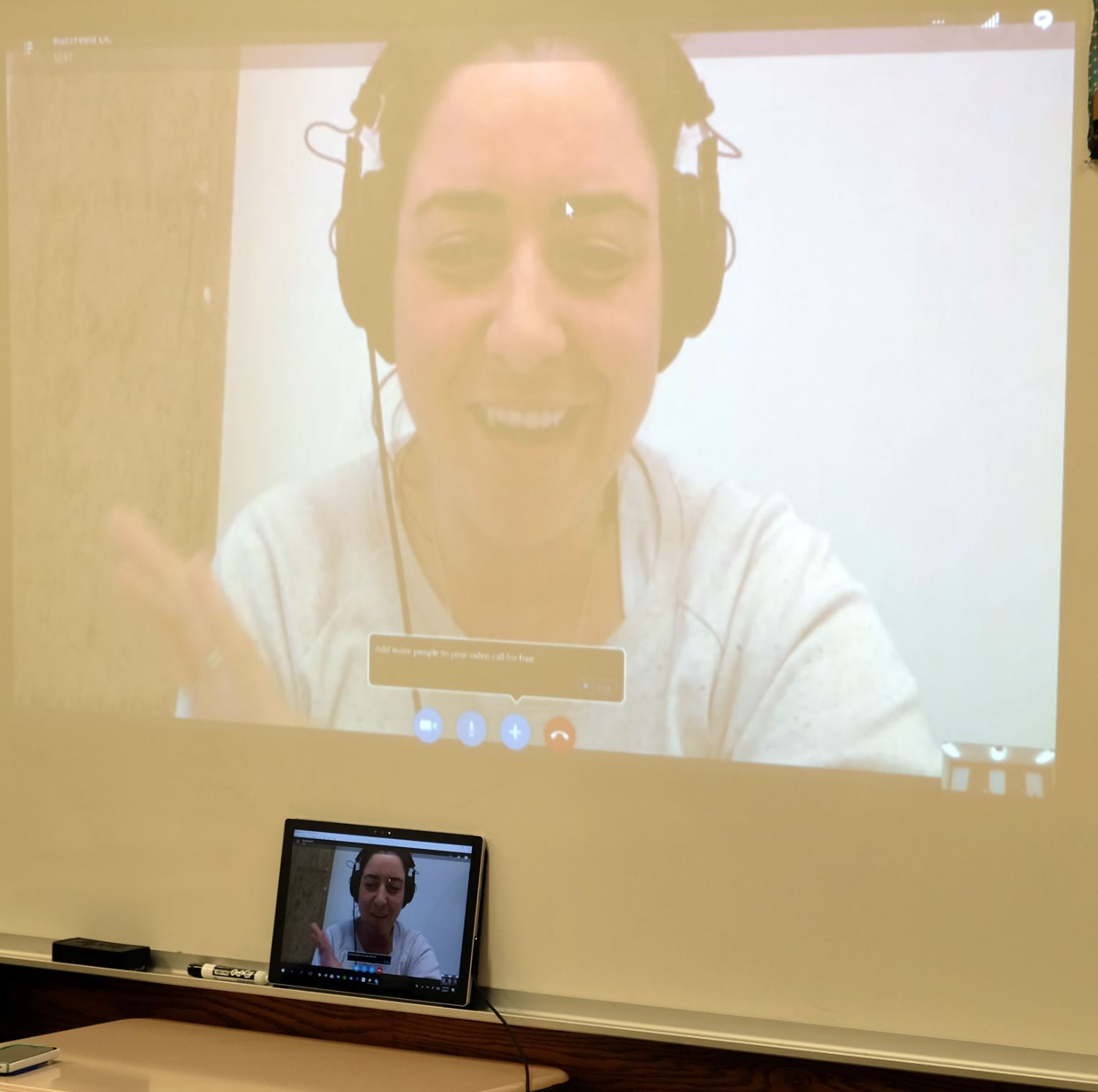 Kate Nocera '01 skyped into the Journalism class.