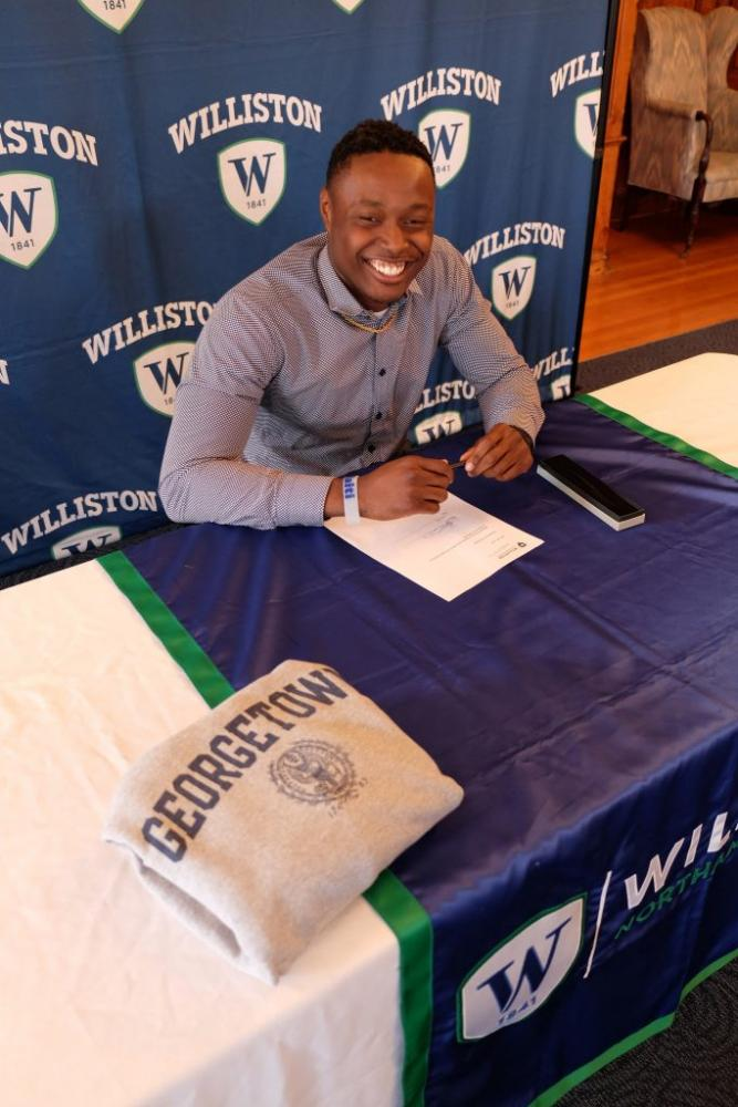 Michael Dereus '15 at Williston as he signed to play football for Georgetown