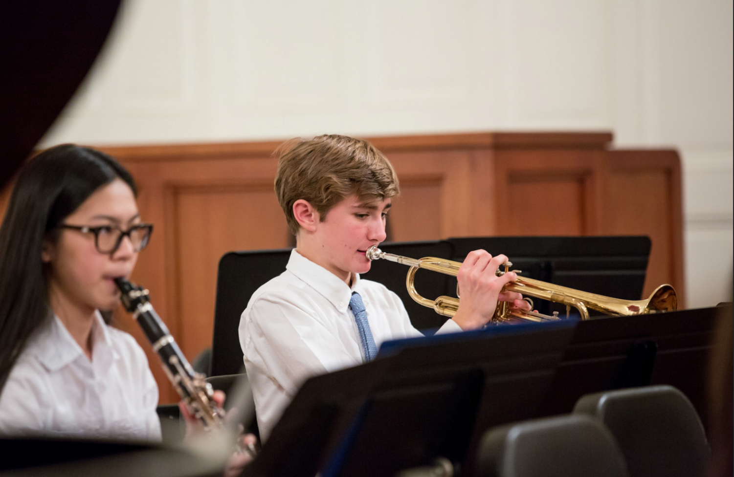 Nat Markey '20 playing in the 2016 Fall Instrumental Concert. Credit: Williston Flickr.