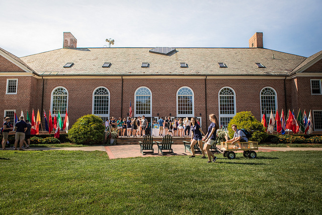 Students gather on the International Terrace during Welcome Days. Credit: Williston Flickr.