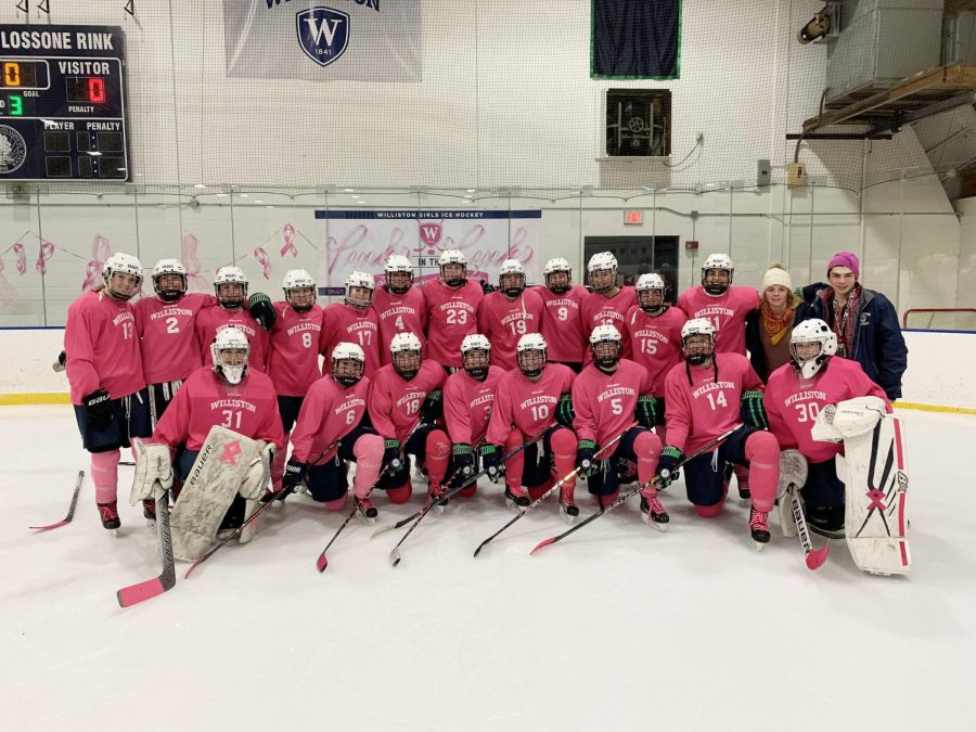 The+Girls+Hockey+Team+at+the+Annual+%22Pink+in+the+Rink%22+Game+in+2018.+Credit%3A+Williston+Flickr