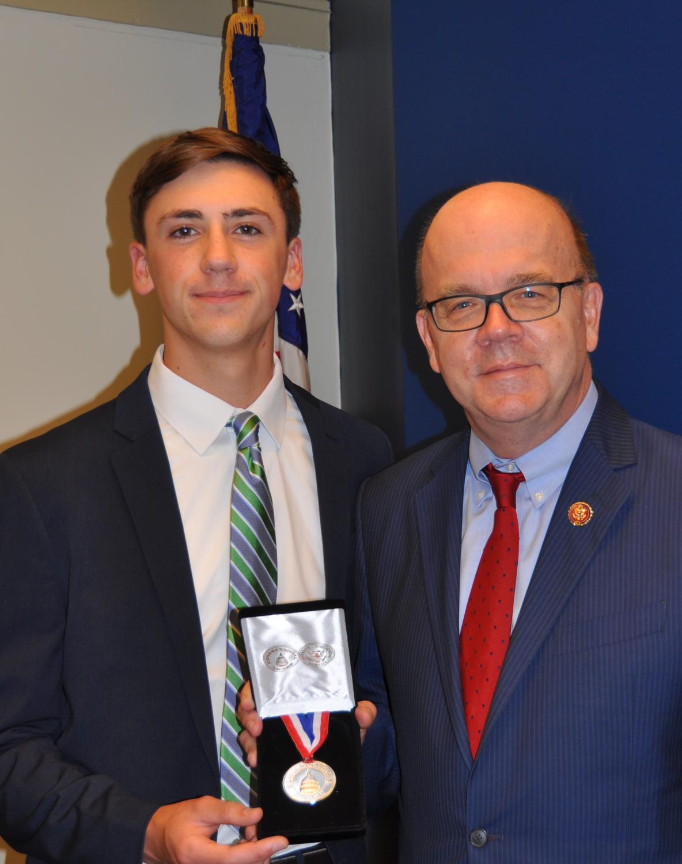 Ryan Dwyer '19 with Massachusetts Congressman Jim McGovern.