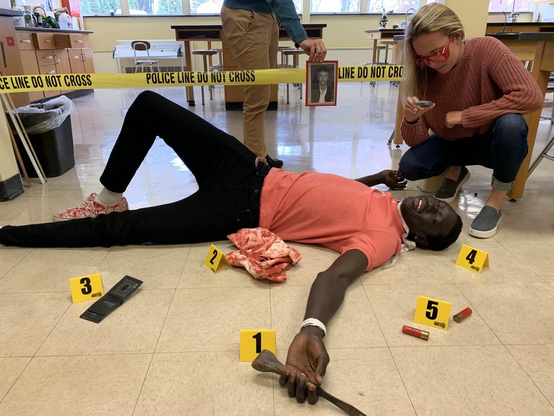 Wol and Aidan in a class crime scene. Credit: Aidan Bourbonnais